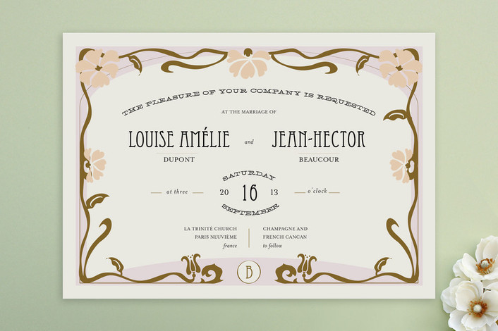 Champagne and French Can Can Wedding Invitations