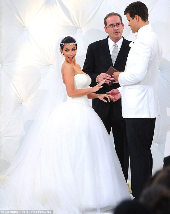 photo of Kim Kardashian's ill-fated marriage: Is this the look of a truly happy bride?