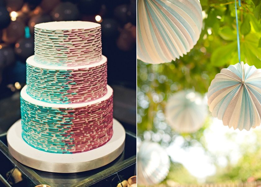 mint green wedding colors ombre wedding cake paper lanterns