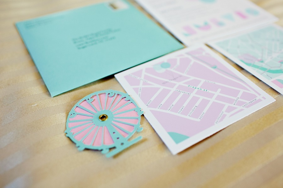 mint green wedding stationery