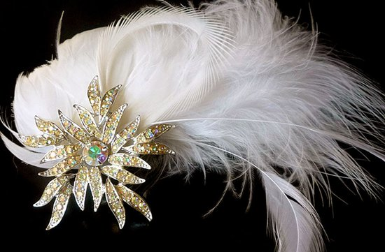 vintage wedding hair accessories feather fascinator