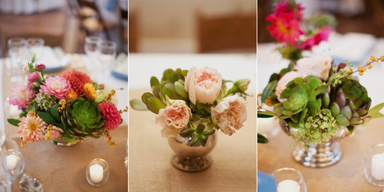 succulent wedding reception centerpieces bright colors with green