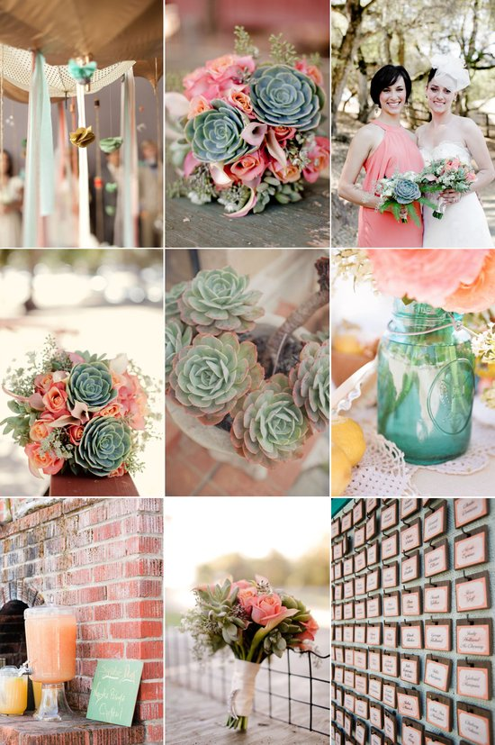Romantic peach wedding flowers with lush eco-friendly succulents