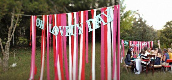 whimsical wedding reception decor ribbon backdrop wedding DIY red pink 2