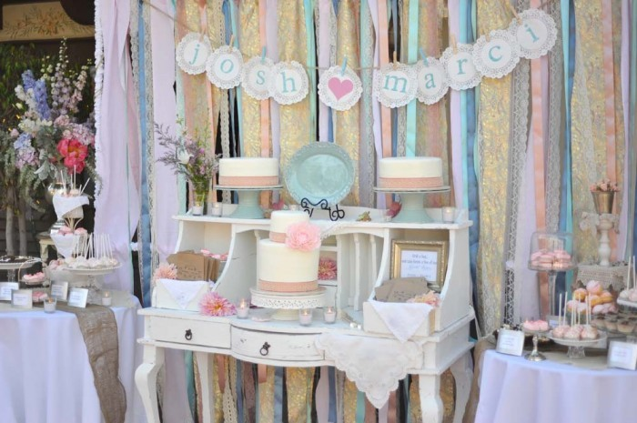 whimsical wedding reception decor ribbon backdrop wedding DIY 1