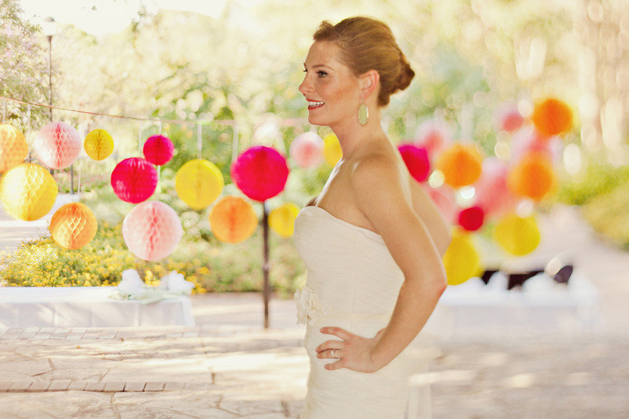 Bride-wears-chic-chignon-outdoor-wedding-colorful.full