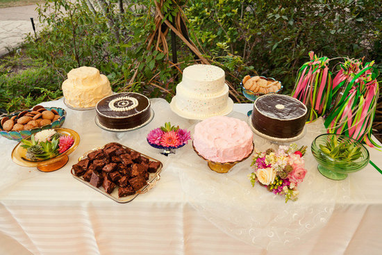 casual outdoor wedding assorted dessert table