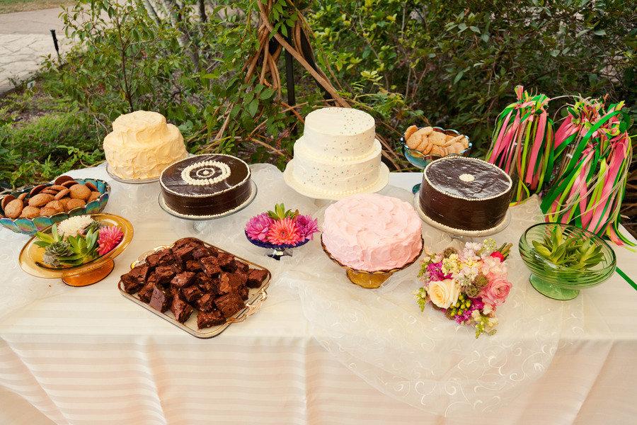 casual outdoor wedding assorted dessert table | OneWed.com