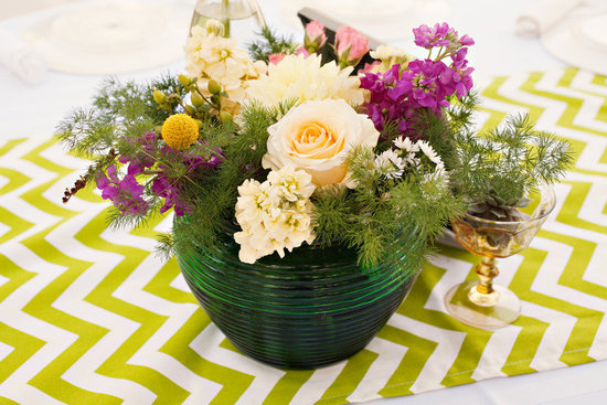 DIY wedding reception centerpiece modern table linens