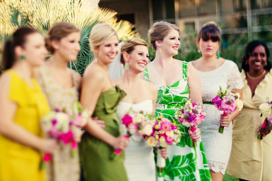 outdoor wedding ceremony mix and match bridesmaid dresses