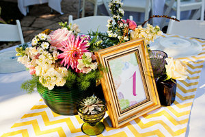 photo of succulent wedding reception decor modern linens