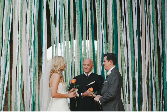 photo of ribbon altar backdrop