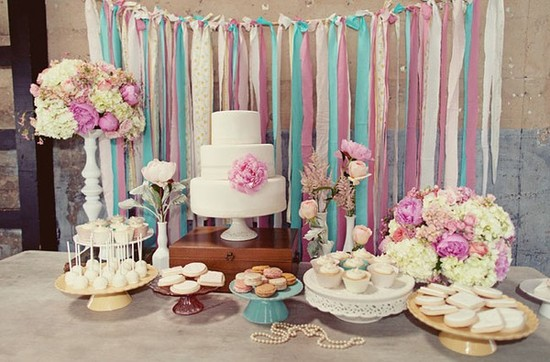 photo of ribbon dessert backdrop DIY