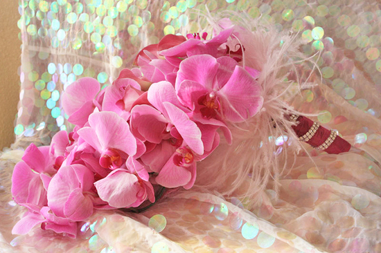 monochromatic bridal bouquets hot pink phalaenopsis orchid bouquet