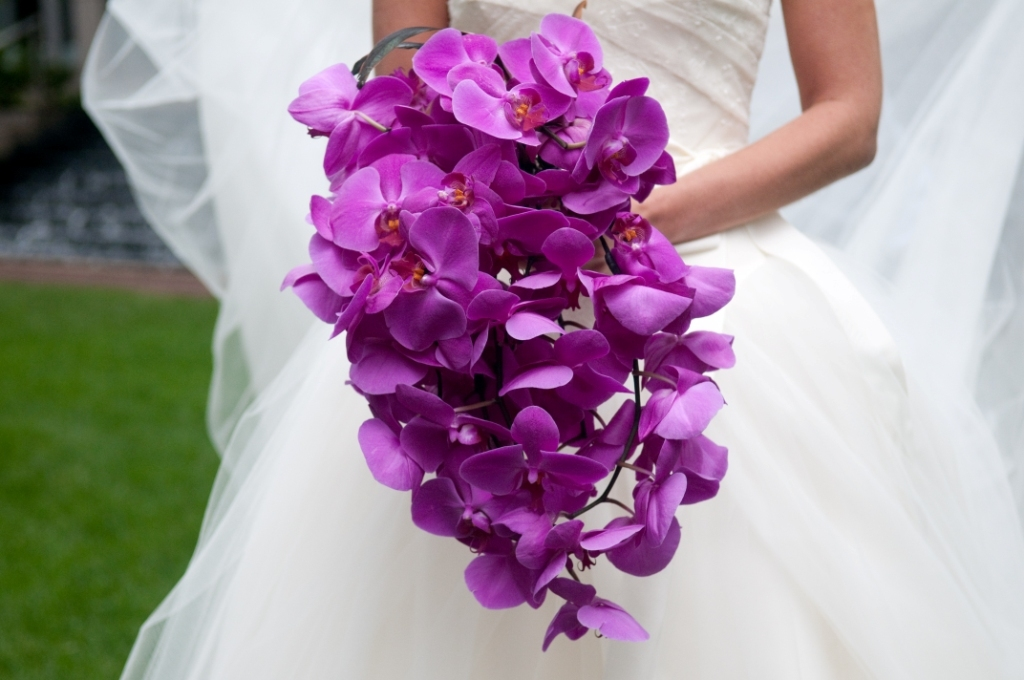 monochromatic wedding flowers bridal bouquet magenta purple orchid ...