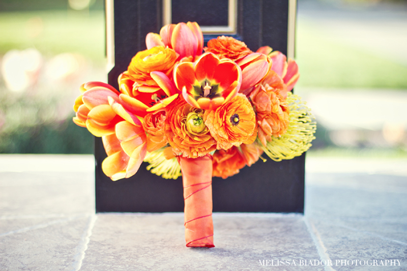 Wedding Flowers Orange And Yellow : Monochromatic orange yellow modern bridal bouquet onewed