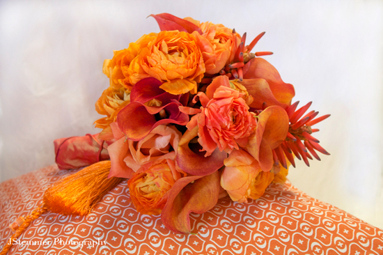 monochromatic wedding flowers bridal bouquet orange tassle aileen tran1
