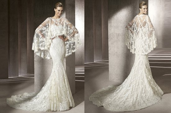 manuel mota wedding dress 2012 lace cape 1