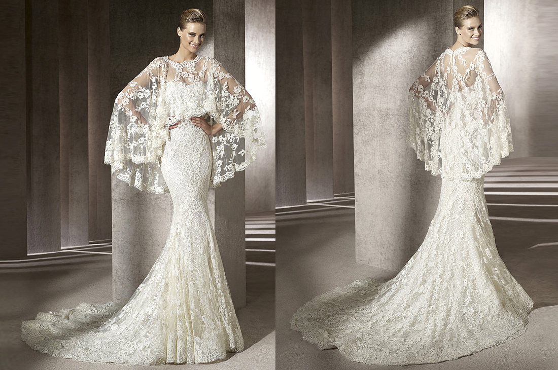 Wedding Dress Images Lace : Manuel mota wedding dress lace cape onewed