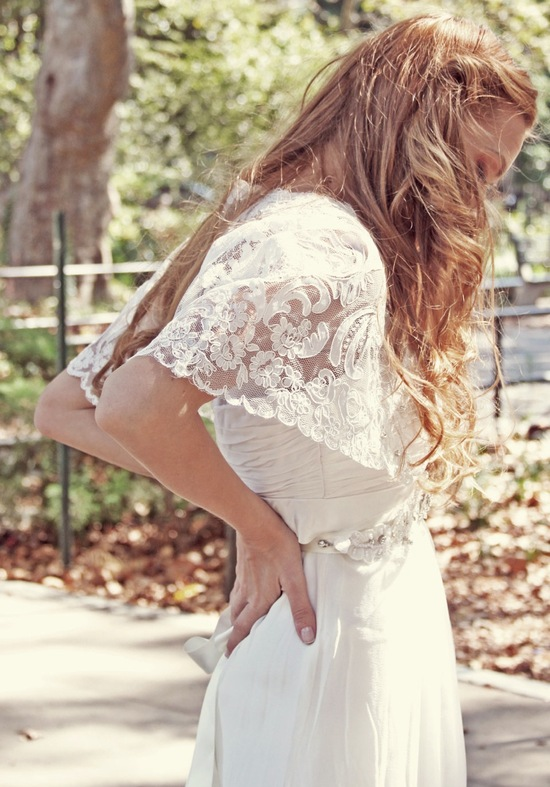 photo of Modern Margarette lace bridal cape
