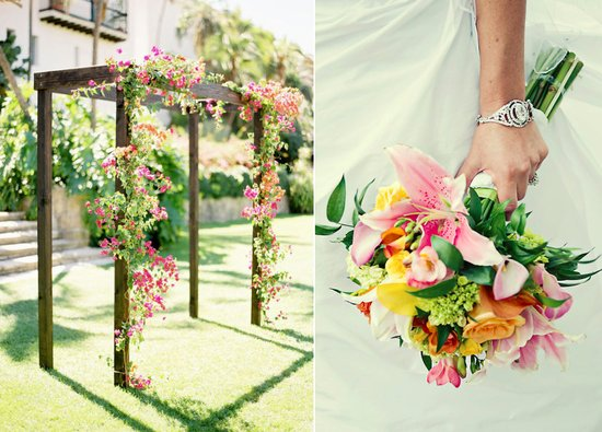pink green wedding colors outdoor ceremony