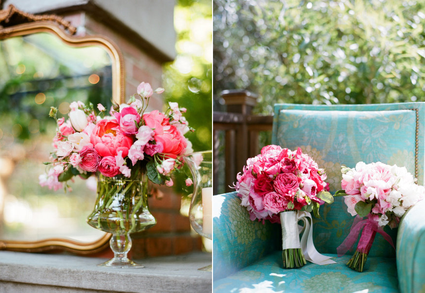 Green Wedding Flowers Centerpieces : Wedding color inspiration for brides pink green