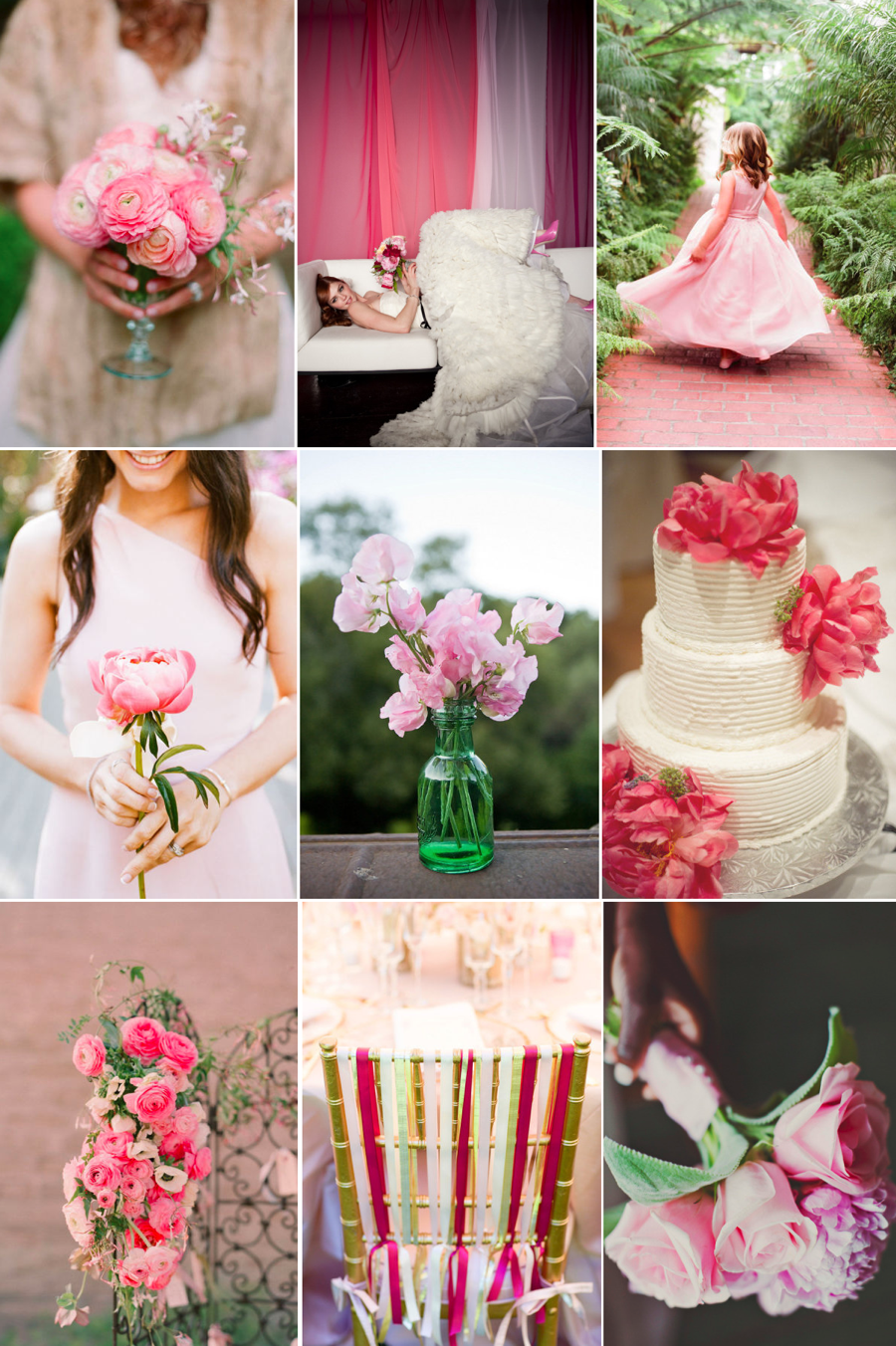 Weddings By Color Peony Pink Grass Green