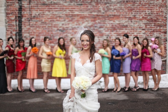 bridesmaids in every color of the rainbow