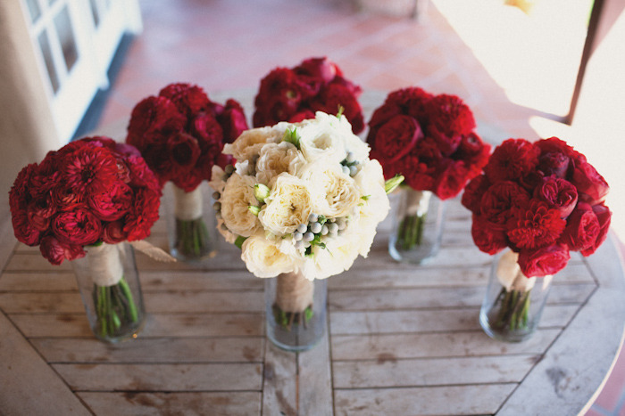 Weddings By Color Deep Red Bouquets White Bouquet For Bride