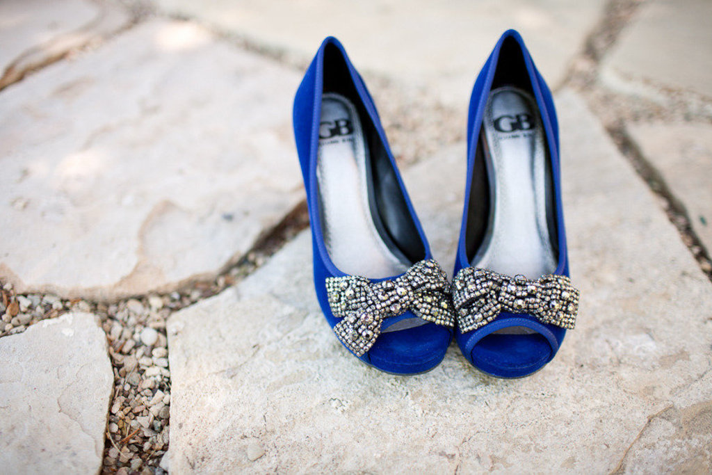 Navy Blue Satin Peep Toe Bridal Heels With Red Hearts On Sole