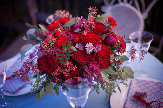 weddings by color romantic red reception centerpiece