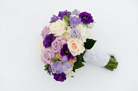 weddings by color purple ivory bridal bouquet