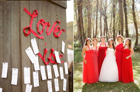 photo of plan your wedding by color red bridesmaids reception decor