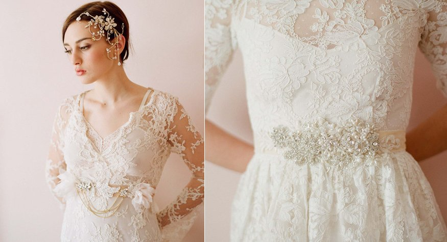 Lace wedding dress with romantic embellished bridal sash