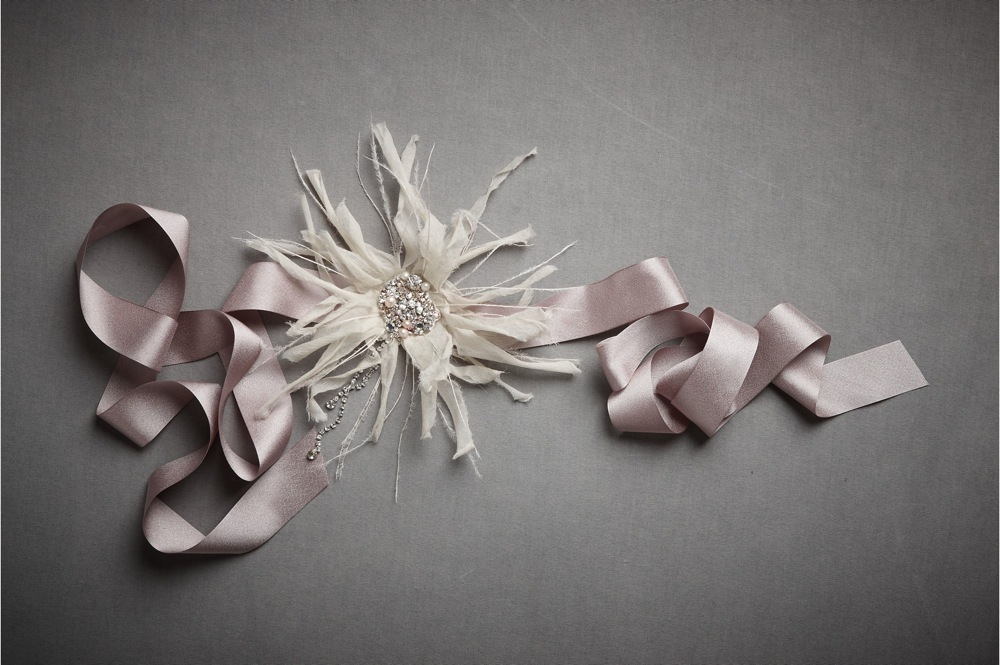 bhldn bridal sash lilac with feathers