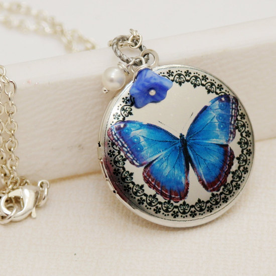 photo of Blue and silver bridal locket