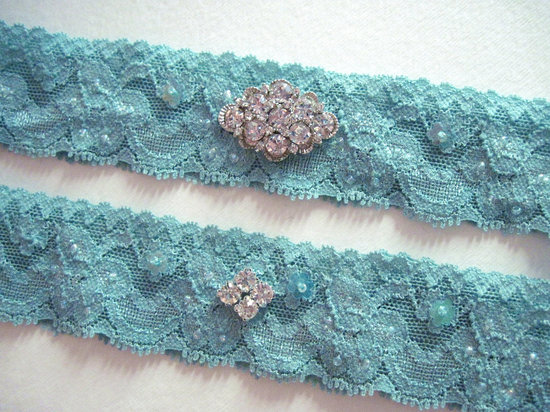 photo of Antique blue bridal garter