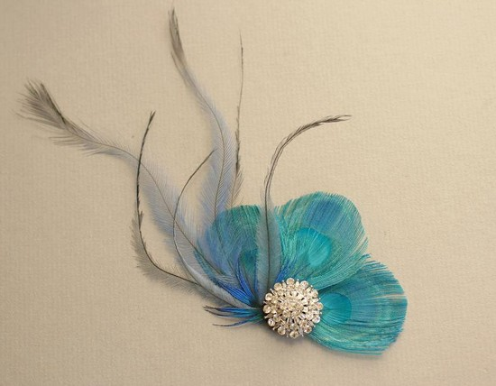 bridal style wedding ideas something blue etsy feather fascinator
