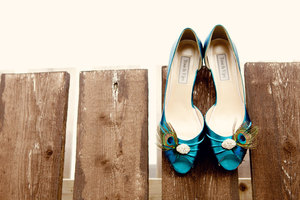 photo of Peacock feather bridal shoes