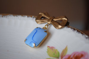 photo of Vintage brass and blue bouquet charm
