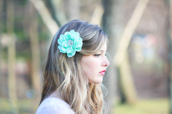 photo of Turquoise wedding hair flower