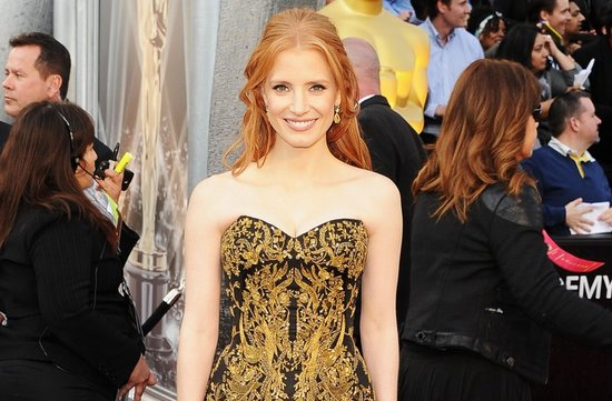2012 oscars red carpet wedding hair makeup inspiration jessica chastain
