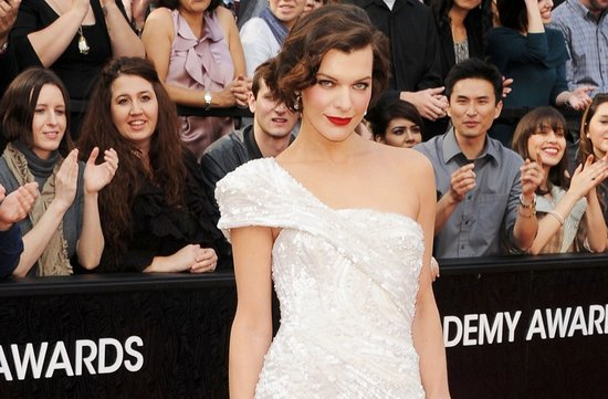 2012 oscars red carpet wedding hair makeup inspiration milla jovovich