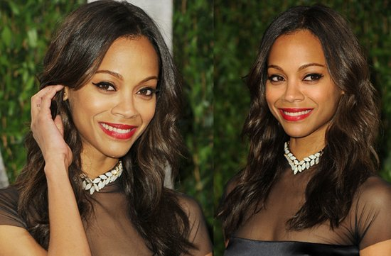 2012 oscars red carpet wedding hair makeup inspiration zoe saldana