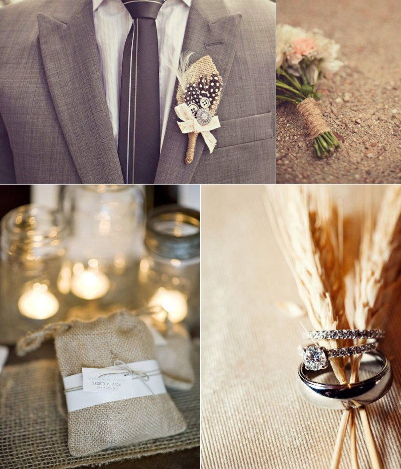 chic wedding decor burlap reception details
