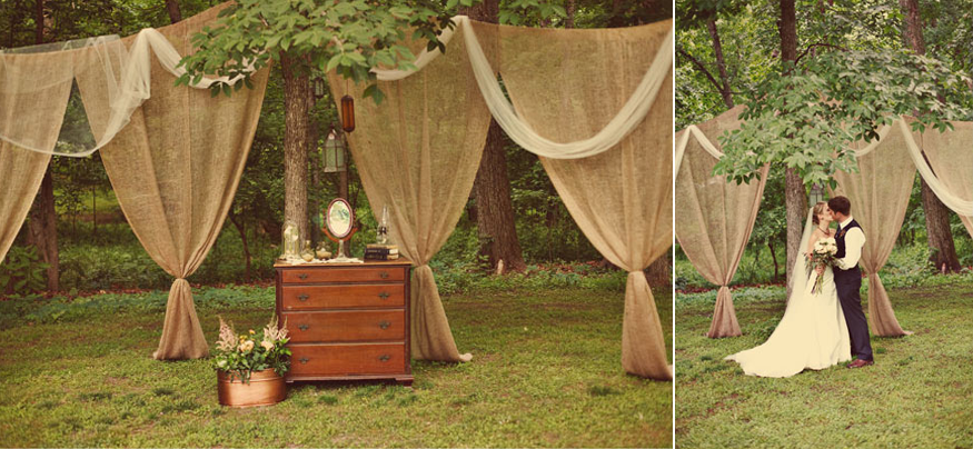 romantic outdoor wedding burlap draping ceremony decor. Black Bedroom Furniture Sets. Home Design Ideas