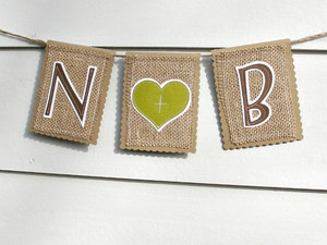 photo of Modern burlap wedding banner