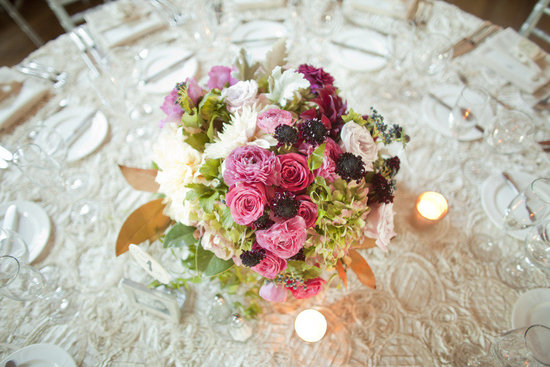 photo of romantic wedding reception centerpiece tablescape