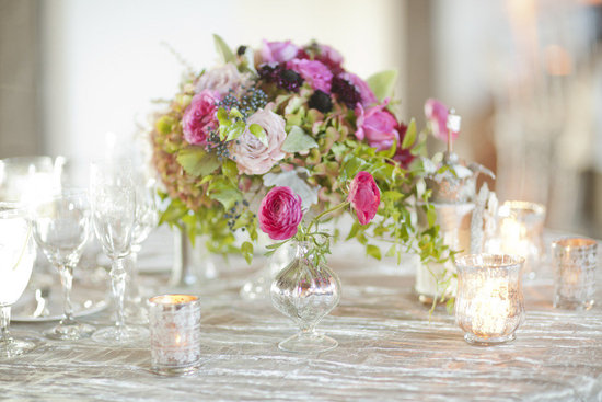 photo of romantic wedding reception table flower centerpiece pink