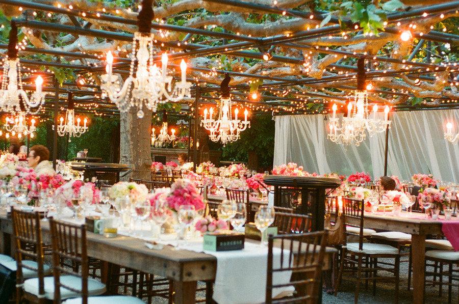 Hot Pink Wedding Reception Table Outdoor Chandeliers
